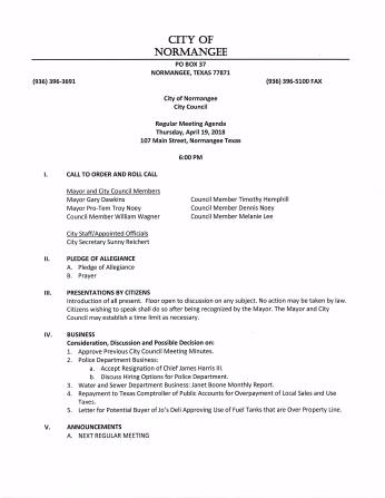 April 19, 2018 Agenda Pg. 1