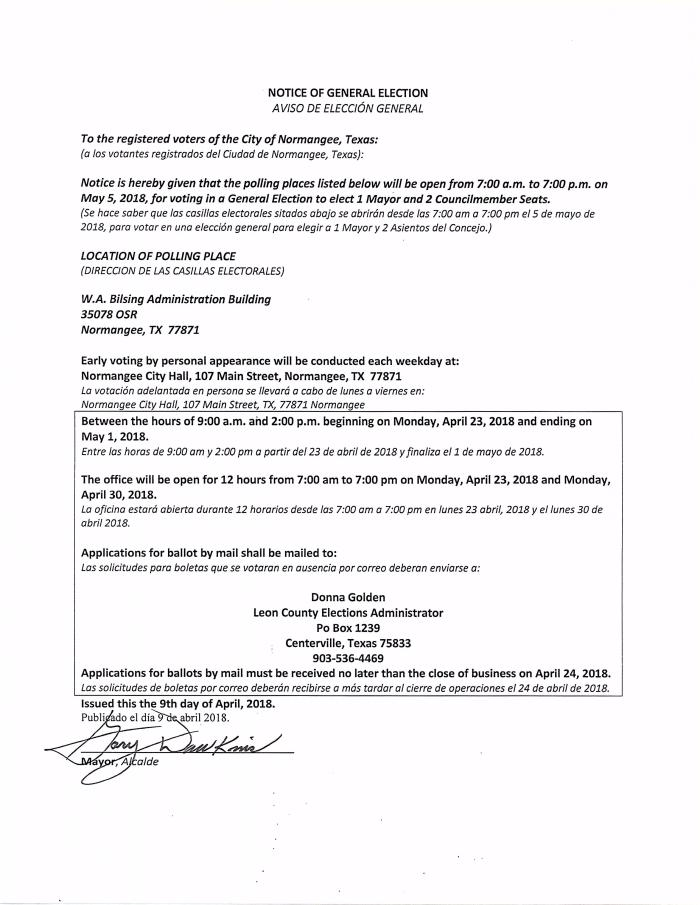 Notice of General Election 2018