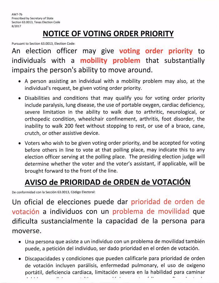 Notice of Voting Order Priority